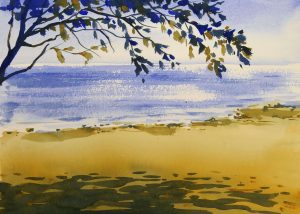 Strandmotiv med akvarel