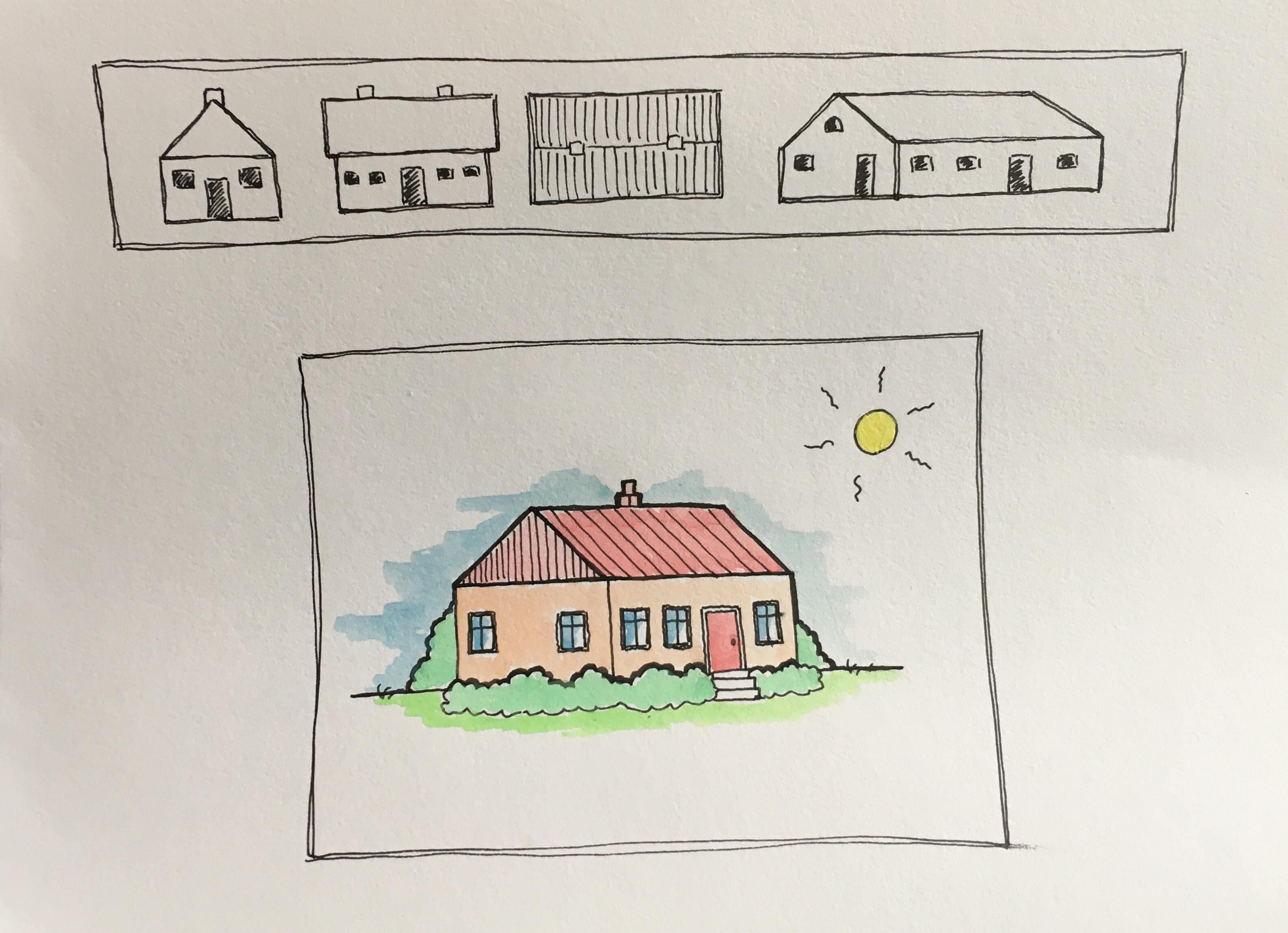 Tegnet hus