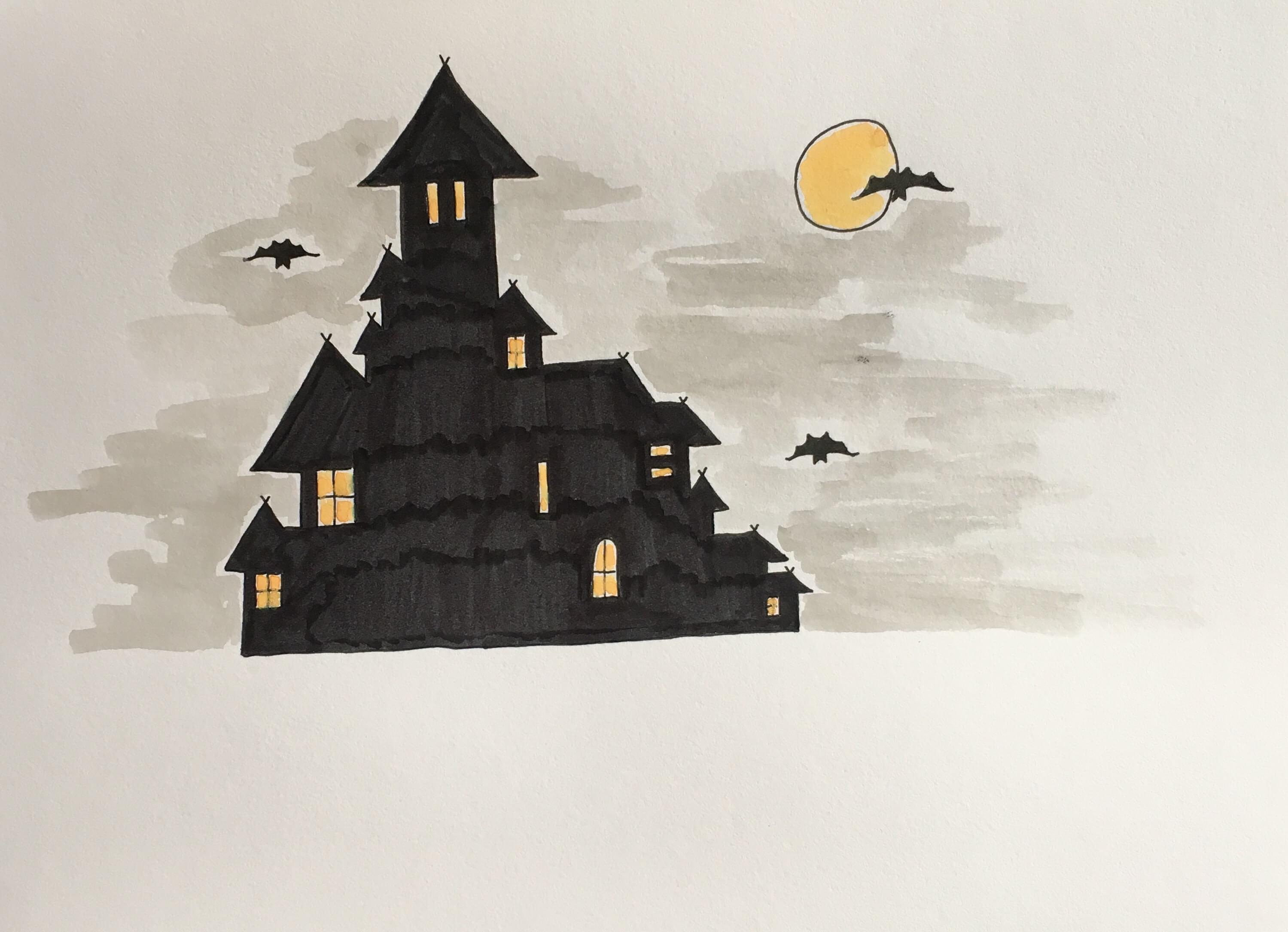 Lær at tegne et halloweenslot