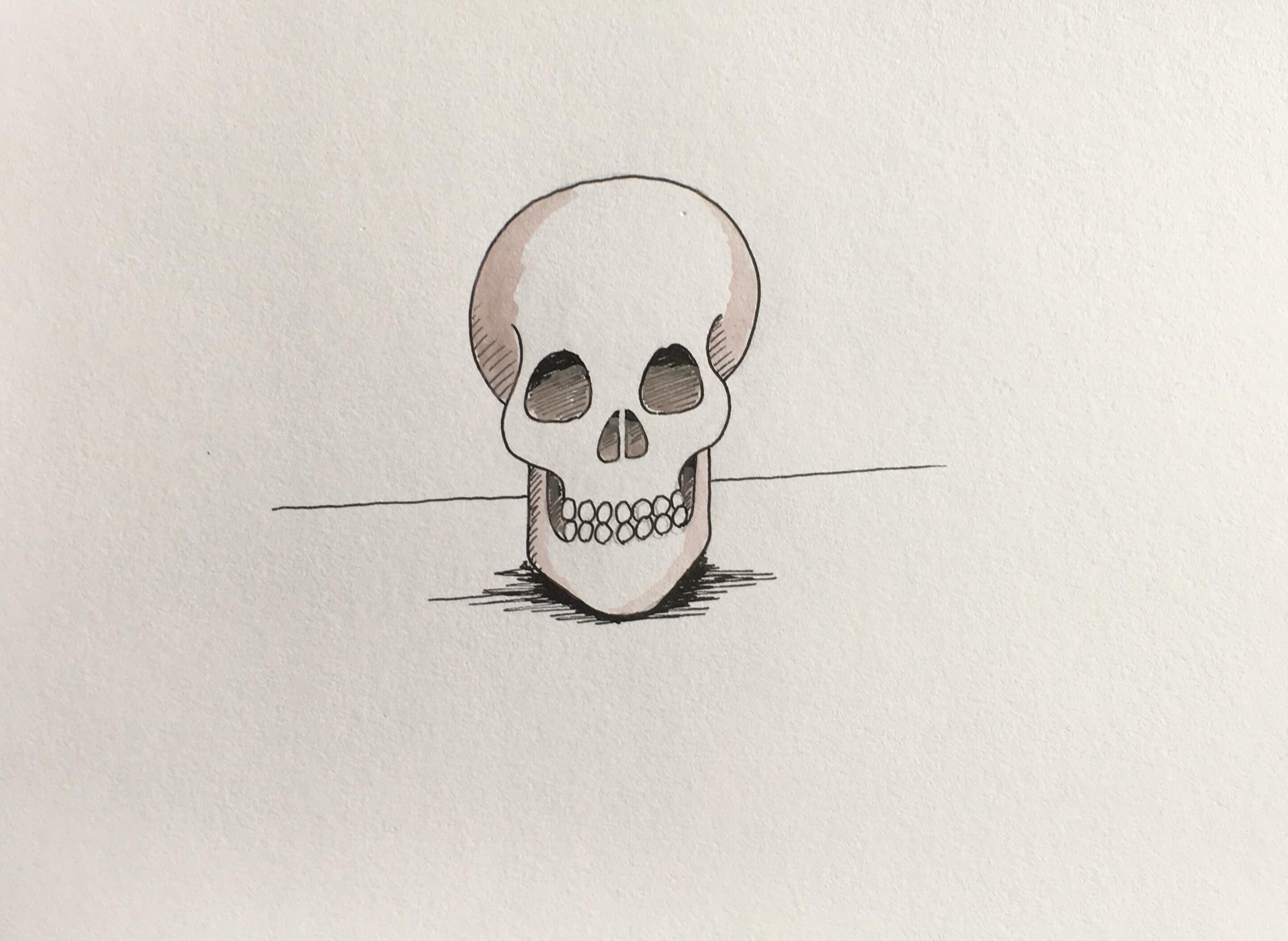 Lær at tegne et kranie / skelethoved